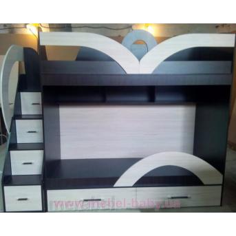 Кровать детская двухъярусная с лестницей-комодом и полками (ал20-1) Мерабель 80x190
