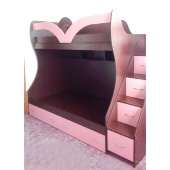 Кровать детская двухъярусная с лестницей-комодом и полками (ал20-3) Мерабель 80x190