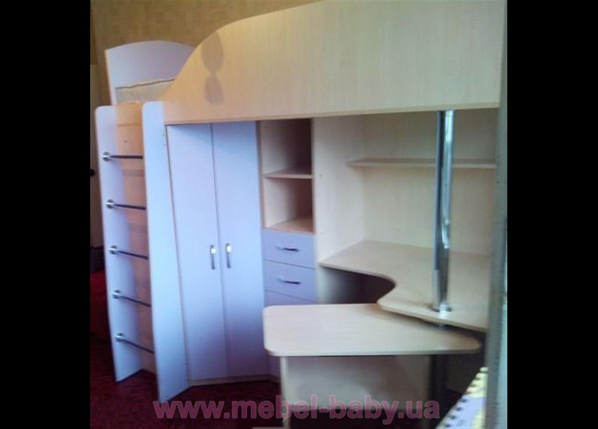 Кровать-чердак с рабочей зоной и угловым шкафом (к3-3) Мерабель 80x190