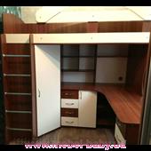 Кровать-чердак с рабочей зоной и угловым шкафом (к23) Мерабель 80x190