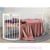Кроватка SMARTBED OVAL 9-в-1 с полозьями для укачивания IngVart белый 60x71