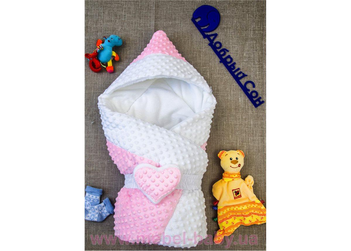 Конверт-одеяло Сердечко  Добрый Сон 100х80 розовый