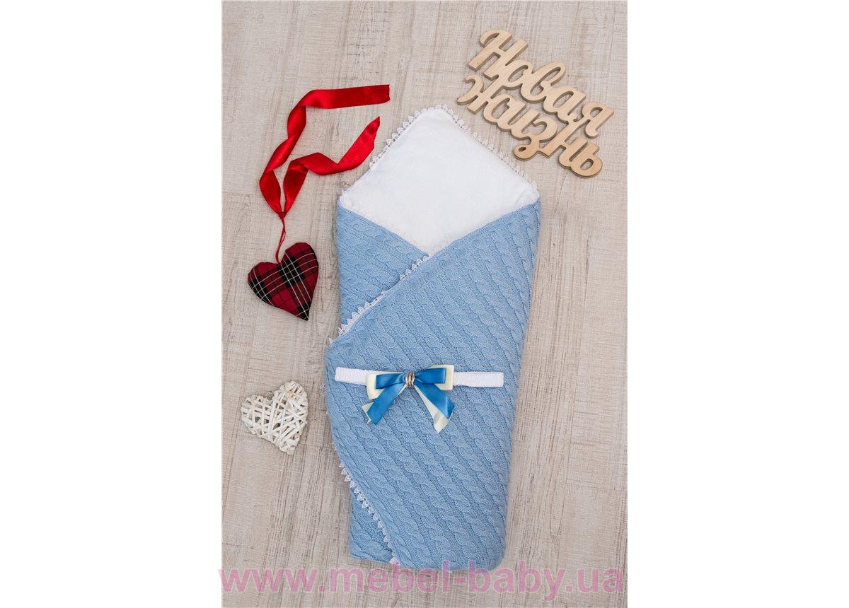 Конверт - одеяло вязка + махра Добрый Сон 83х83