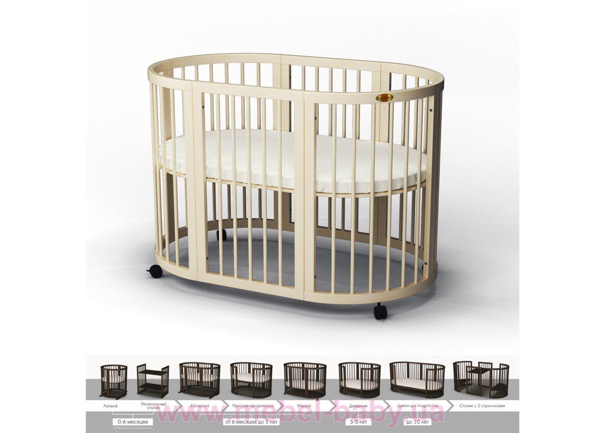 Кроватка SMARTBED ROUND 9-в-1 с полозьями для укачивания IngVart сл. кость 72x72