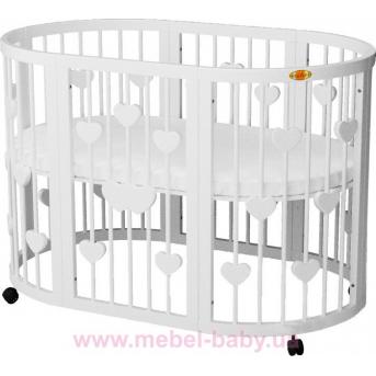Кроватка SMARTBED ROUND 9-в-1 с сердечками с полозьями для укачивания IngVart белый 72x72