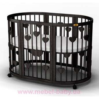 Кроватка SMARTBED ROUND 9-в-1 с сердечками с полозьями для укачивания IngVart венге 72x72