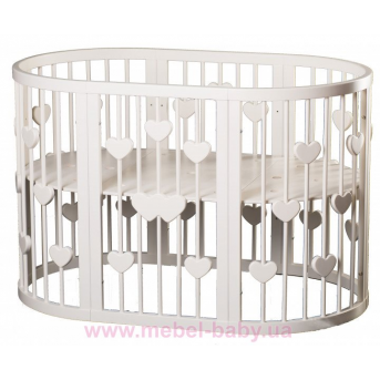 Кроватка SMARTBED ROUND 9-в-1 с сердечками с полозьями для укачивания IngVart молочный 72x72