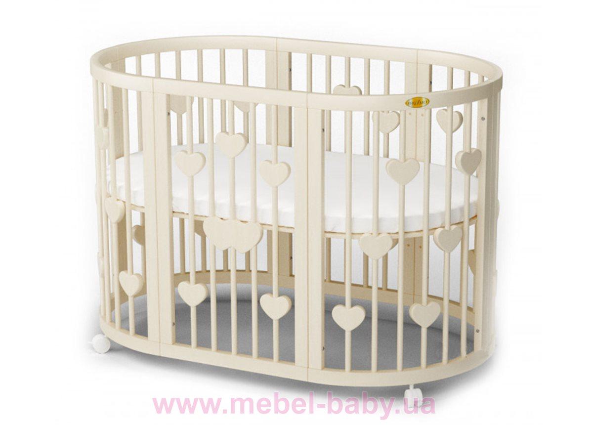 Кроватка SMARTBED ROUND 9-в-1 с сердечками с полозьями для укачивания IngVart сл. кость 72x72