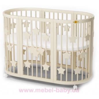 Кроватка SMARTBED ROUND 9-в-1 со звёздочками с полозьями для укачивания IngVart молочный 72x72