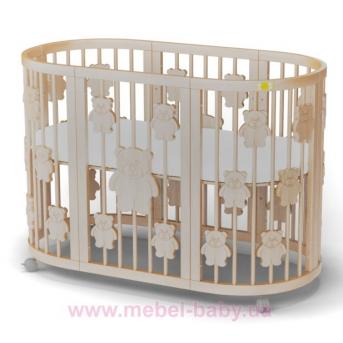 Кроватка SMARTBED ROUND 9-в-1 с мишками с полозьями для укачивания IngVart слоновая кость 72x72