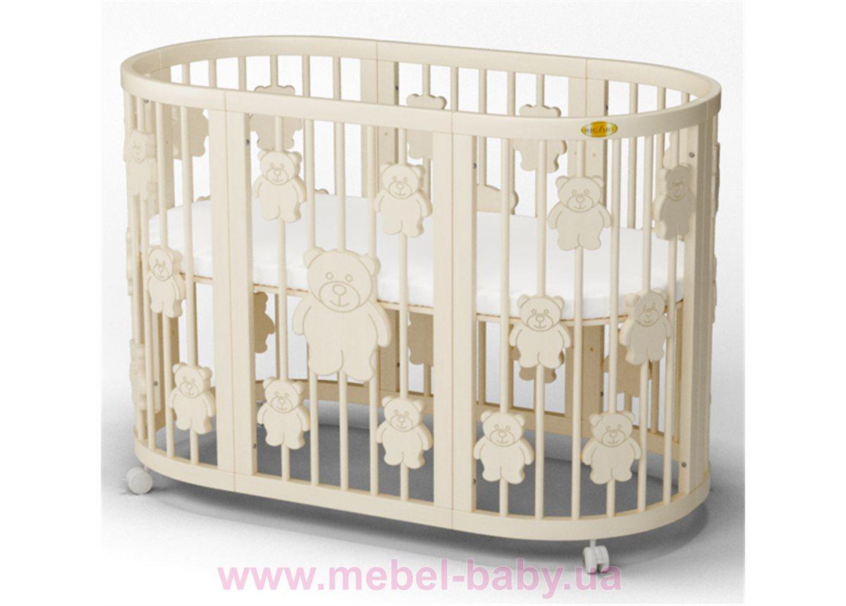 Кроватка SMARTBED ROUND 9-в-1 с мишками с полозьями для укачивания IngVart молочный 72x72