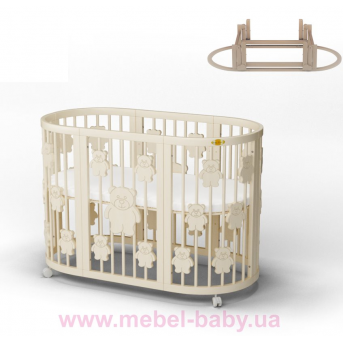 Кроватка SMARTBED ROUND 9-в-1 с мишками с маятником IngVart молочный 72x72