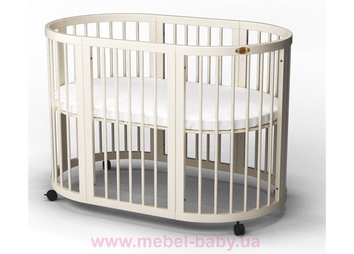 Кроватка SMARTBED ROUND 9-в-1 с маятником IngVart молочный 72x72