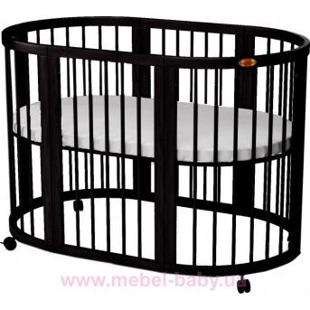 Кроватка SMARTBED ROUND 9-в-1 с маятником IngVart венге 72x72