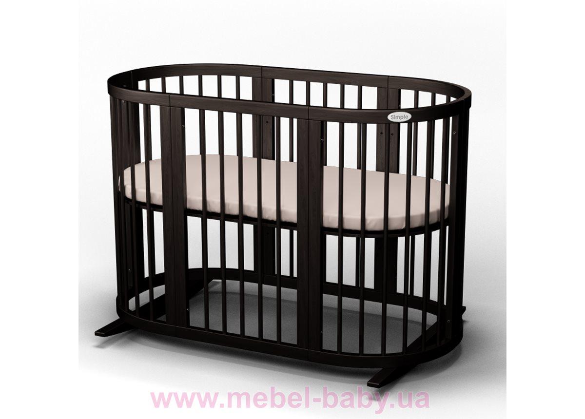 Кроватка SMARTBED OVAL 9-в-1 с полозьями для укачивания IngVart венге 60x71