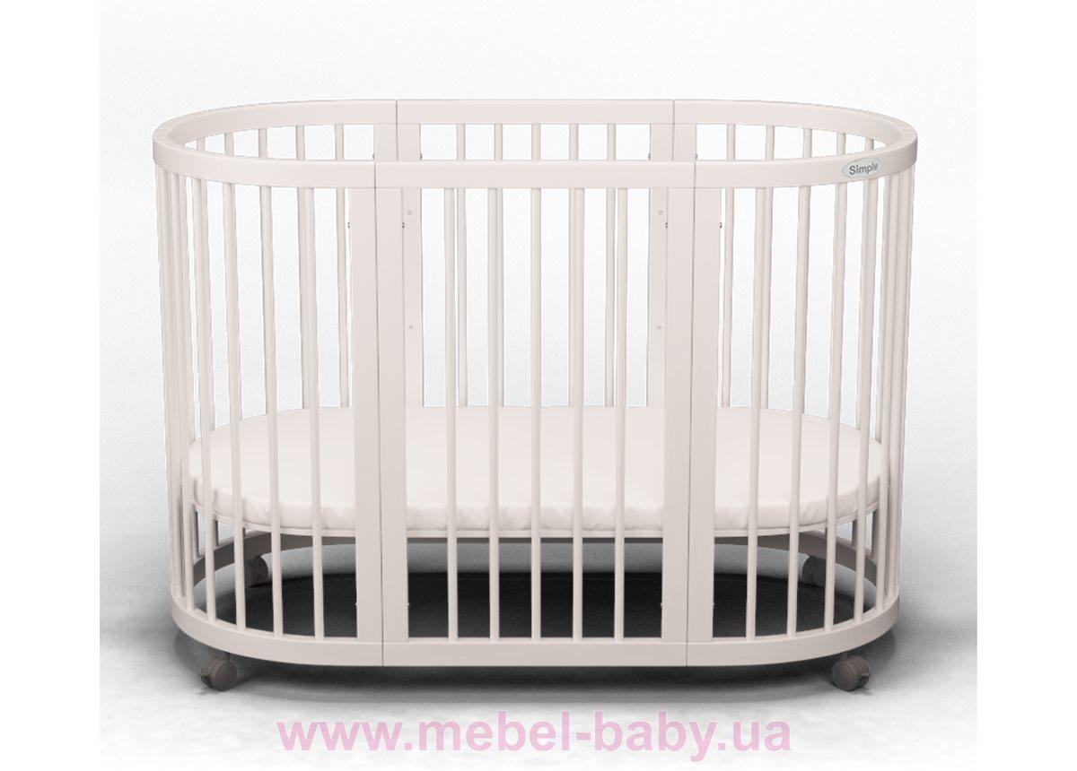 Кроватка SMARTBED OVAL 9-в-1 с полозьями для укачивания IngVart молочный 60x71