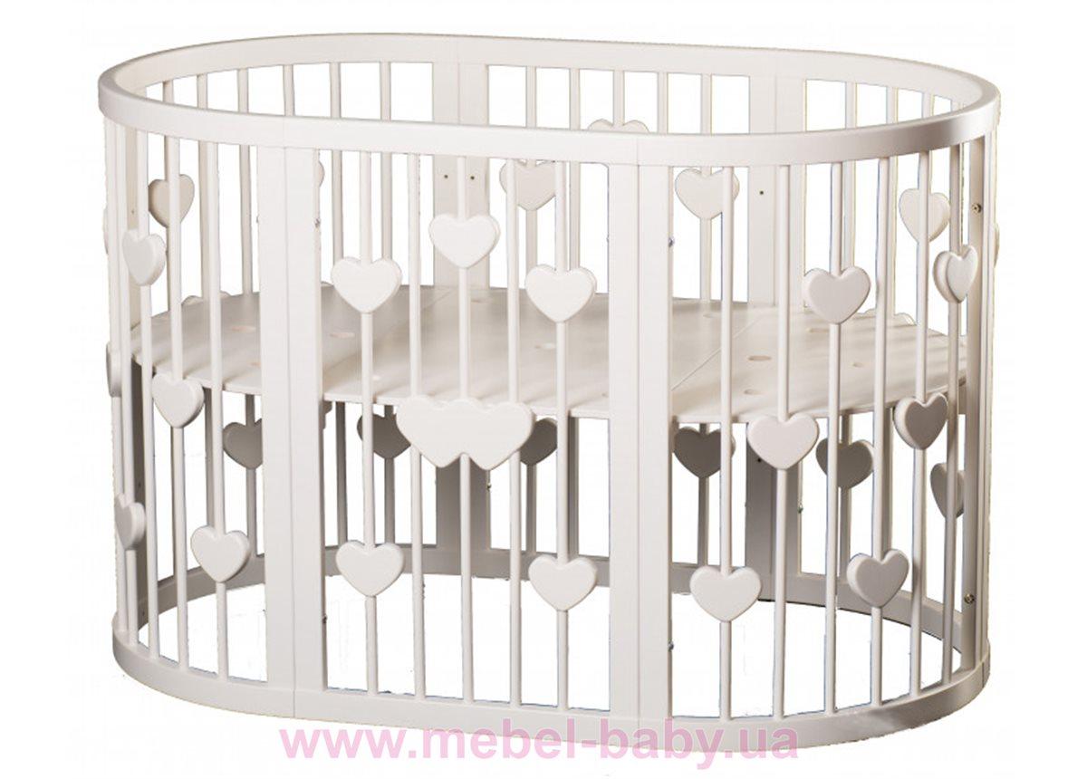 Кроватка SMARTBED OVAL 9-в-1 с сердечками с маятником IngVart молочный 60x71