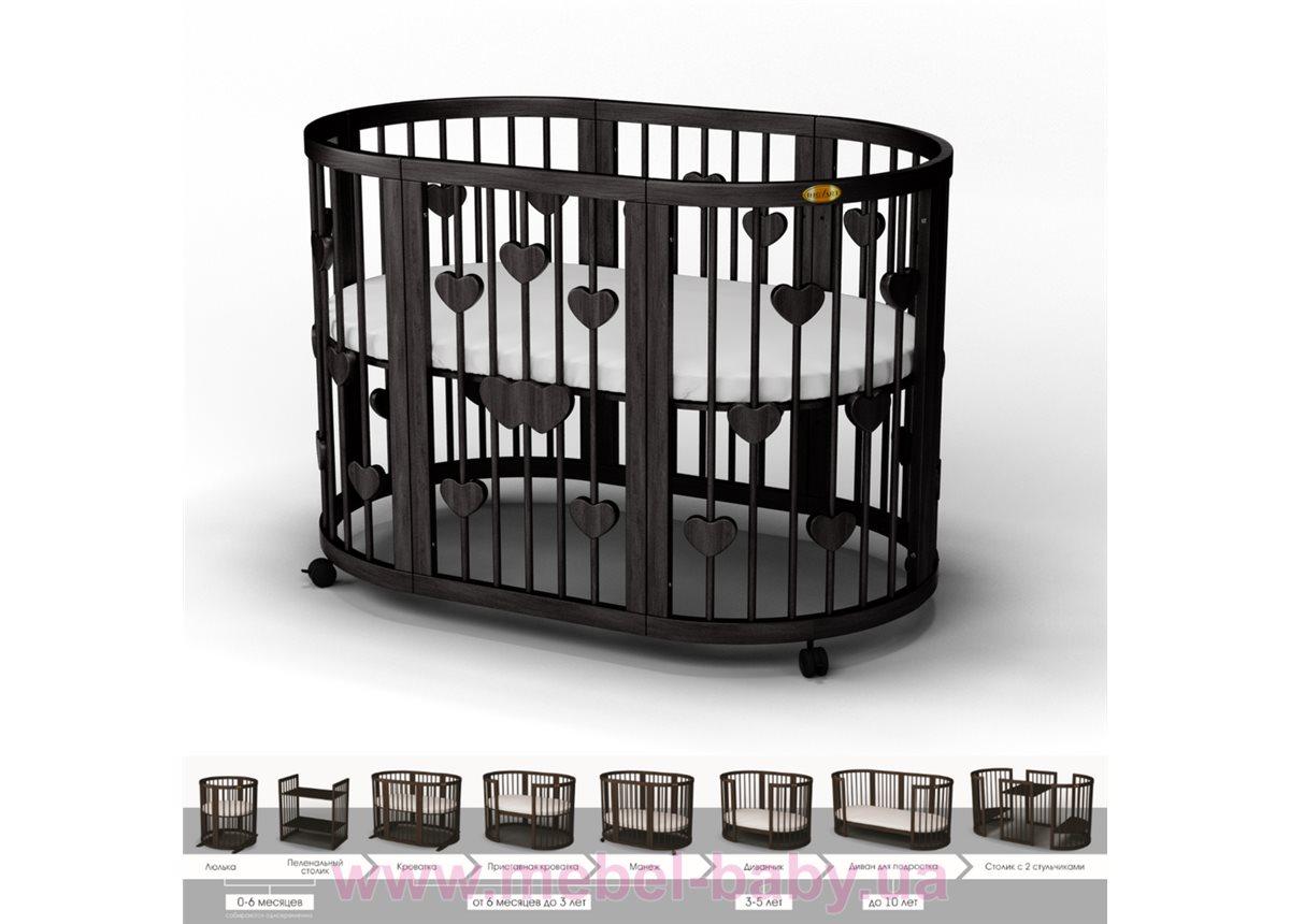 Кроватка SMARTBED OVAL 9-в-1 с сердечками с полозьями для укачивания IngVart венге 60x71