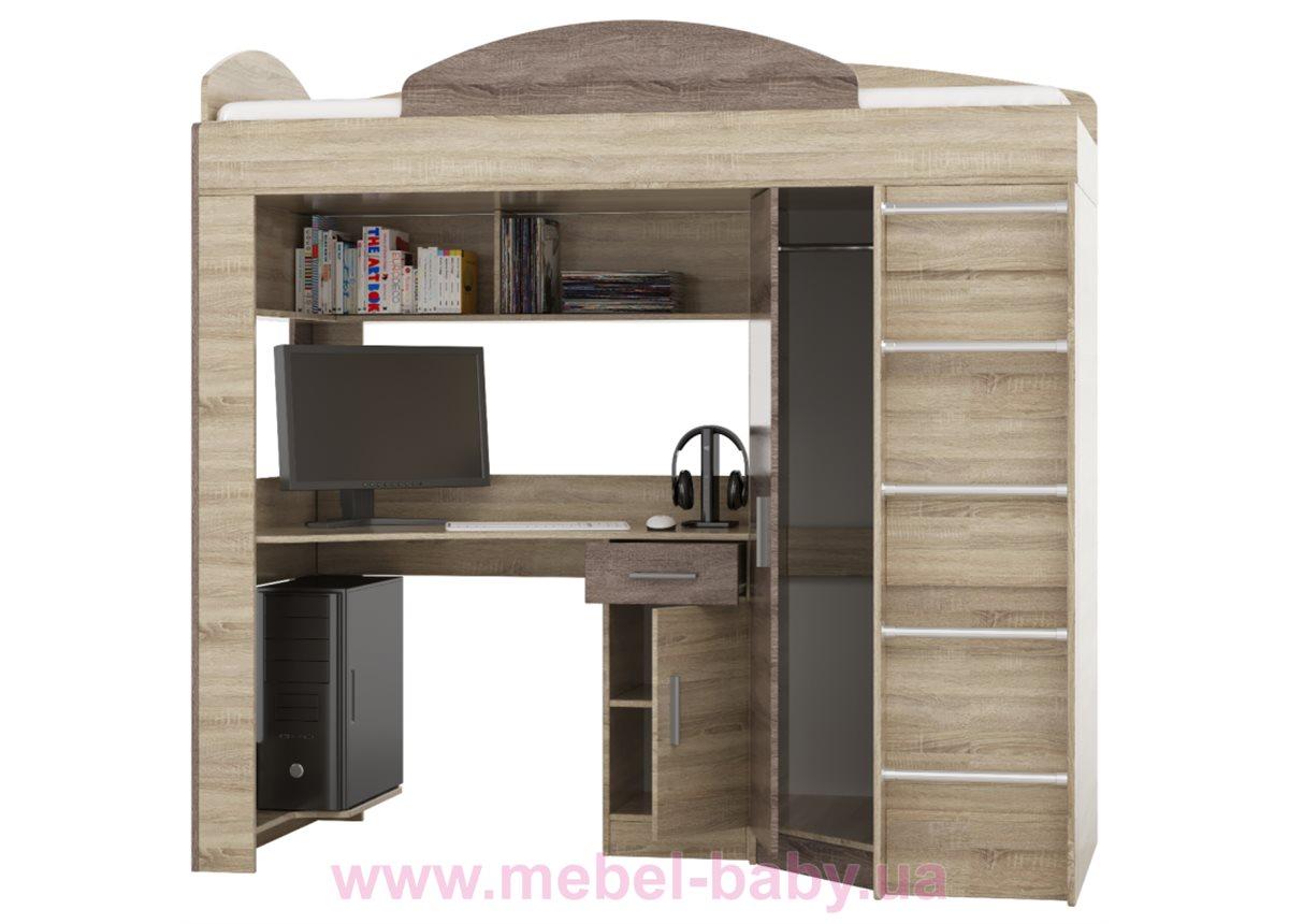 Кровать-чердак с рабочей зоной и угловым шкафом  Fmebel  80х190