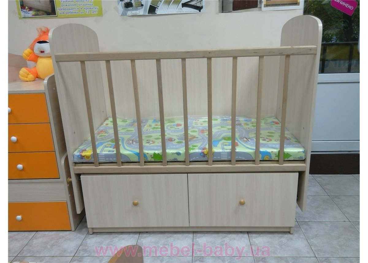 """Качающаяся кроватка для новорожденных """"Малютка"""" Fmebel 60x120"""