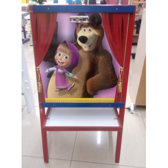 Распродажа_Мольберт Маша и Медведь деревянный Finex цветной