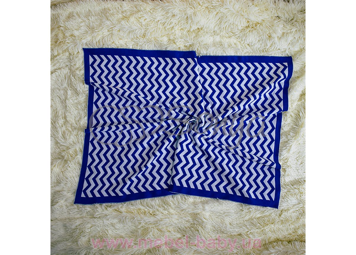 Плед вязанный Зигзаг Маленькая Соня 80х100 синий