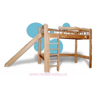 Детская кровать-чердак Пеппи 80*190 с боковой лестницей без горки Sokira