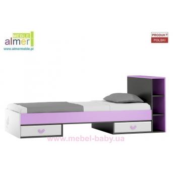 Кровать с ящиком и бортиком FLOWER Y19 90x200 Белый Almer