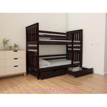 Распродажа Кровать двухъярусная-трансформер + ящики + защитный бортик Адель Duo (масcив) Луна 80x190