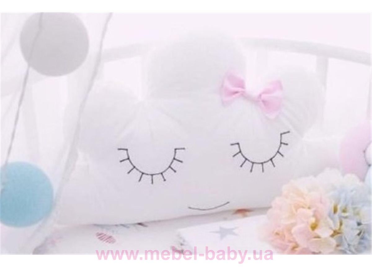 Подушка-игрушка Улыбающееся облачко с бантиком IngVart белый