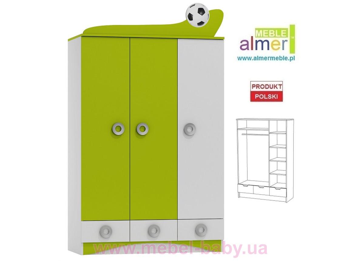 Трехдверный шкаф FOOTBALL N10 1200 Зеленый лайм Almer