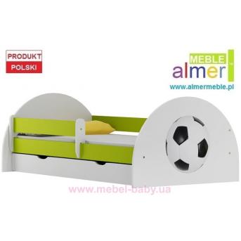 Кровать с ящиком и бортиком FOOTBALL N20S 90x180 Зеленый лайм Almer