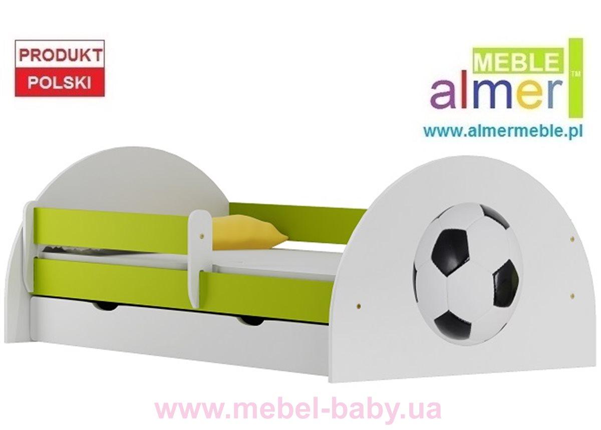Кровать с ящиком и бортиком FOOTBALL N20S 90x200 Зеленый лайм Almer