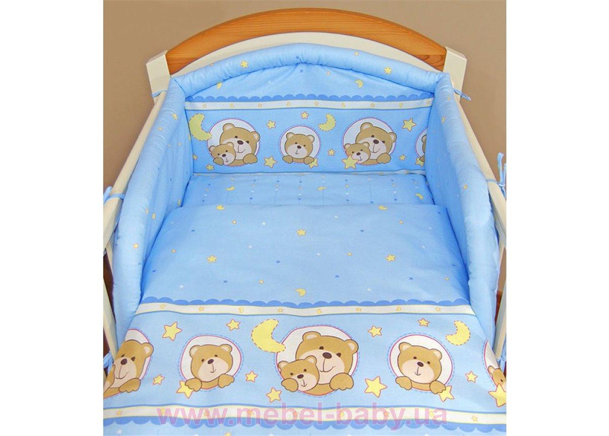 """Комплект сменного постельного белья """"Мишки в круге"""" голубой"""