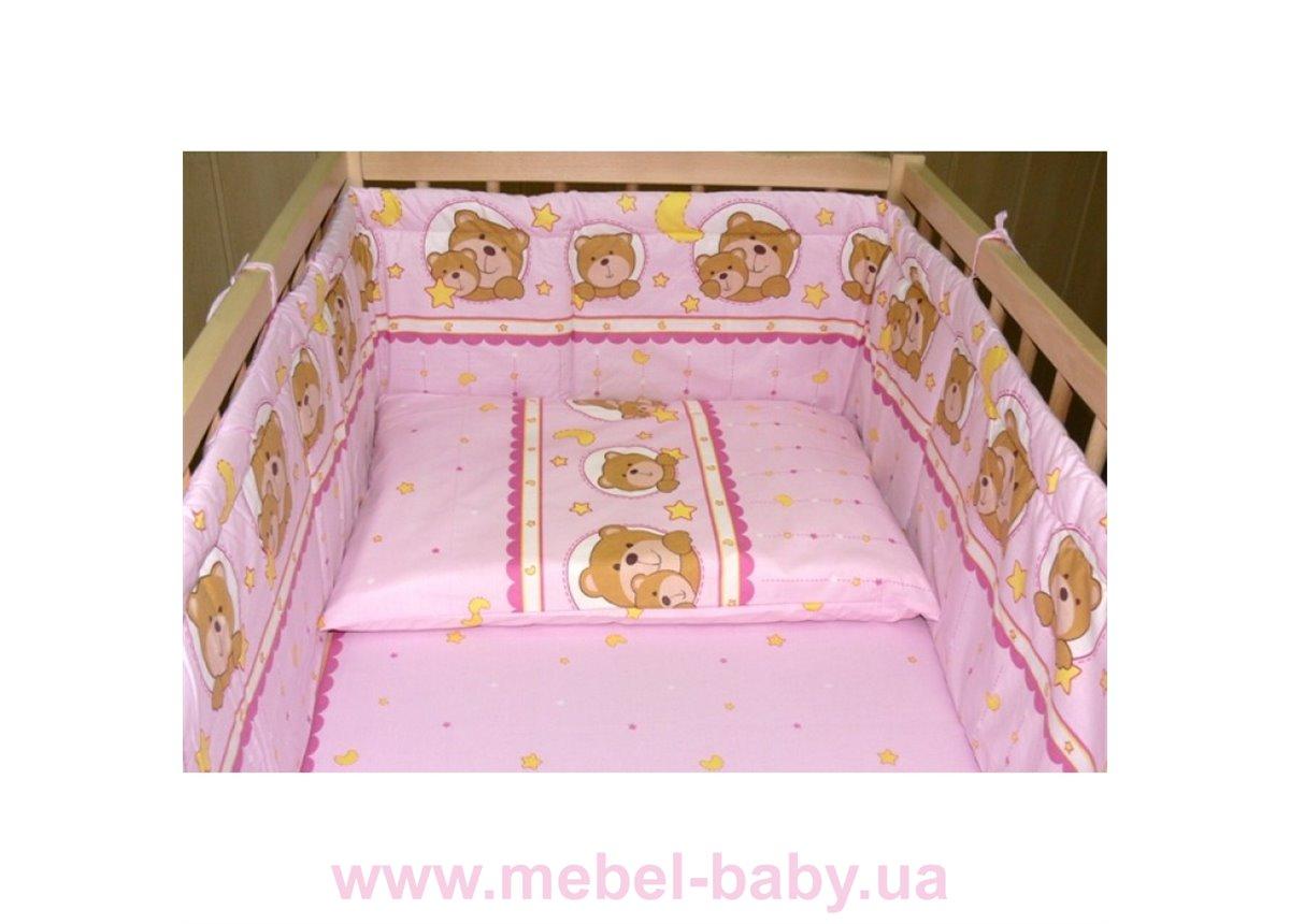 """Комплект сменного постельного белья """"Мишки в круге"""" розовый"""