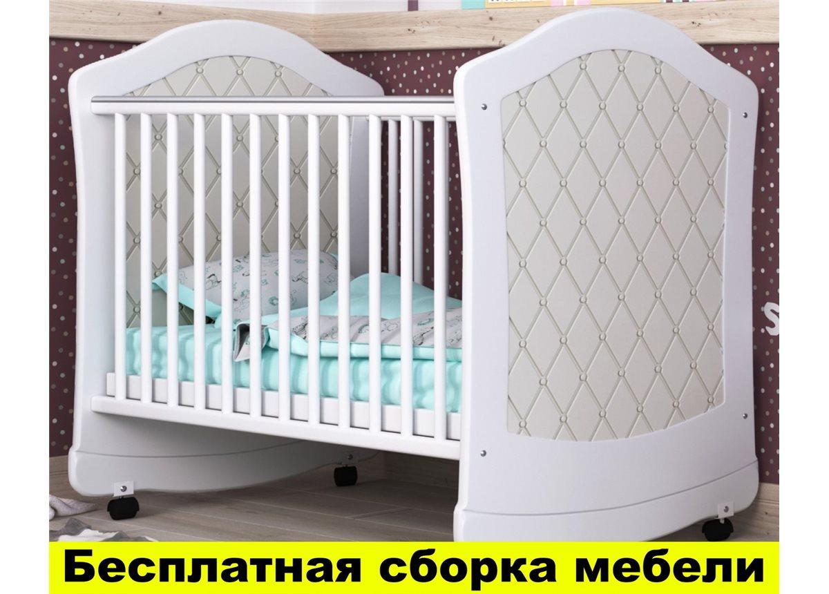 Кроватка с маятниковым механизмом поперечного качания Glamour Пиноккио 60х120 Белый