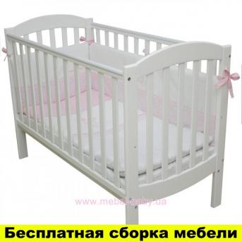 Не качающаяся кроватка для новорожденных Соня Эконом ЛД10 Верес белая 60х120