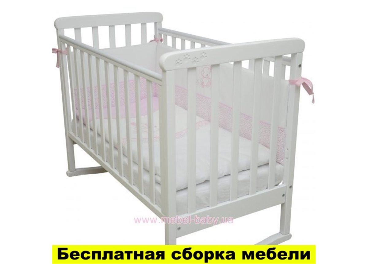 Кроватка на полозьях для качания Соня ЛД 12 Верес Белый 60х120