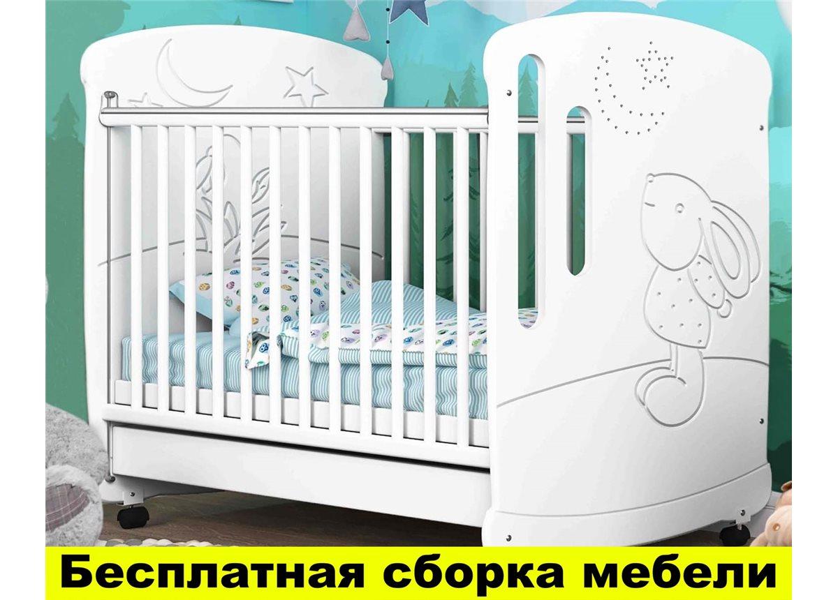 Кроватка на полозьях для качания Зайчик со стразами Пиноккио Белый 60х120