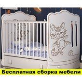 Кроватка с маятниковым механизмом поперечного качания Тандем Пиноккио Белый 60х120