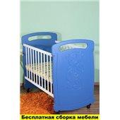 Кроватка на полозьях для качания Тедди Пиноккио Голубой 60х120