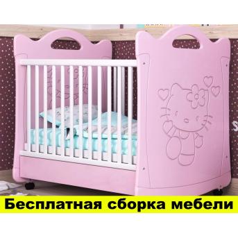 Кроватка на полозьях для качания Китти Пиноккио Розовый 60х120