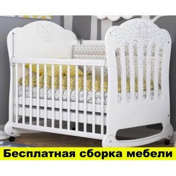 Кроватка на полозьях для качания Юджин Пиноккио Белый 60х120