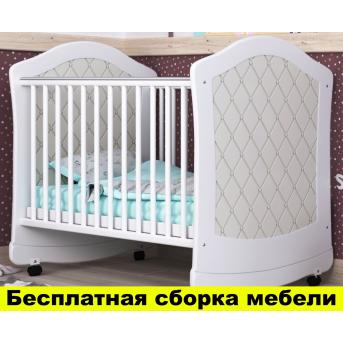 Распродажа Кроватка с маятниковым механизмом поперечного качания Glamour Пиноккио 60х120 Белый