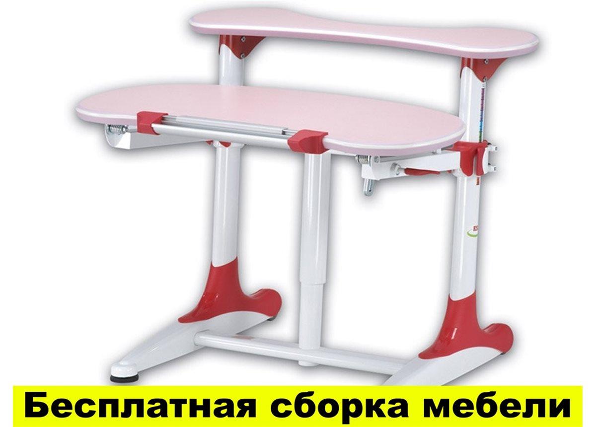 Стол Mealux Milan Pink (арт.BD-306 WR Pink) - столешница розовая / накладки на ножках красные