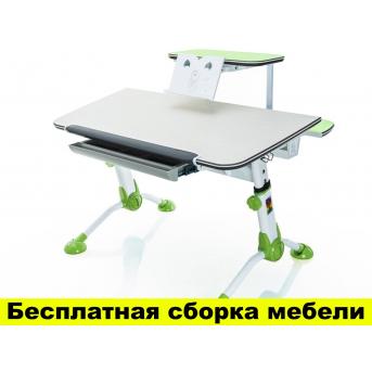 Стол Mealux Orion Green с полкой (арт.BD-107 Z+полка BD-S50) - столешница береза / цвет пластика зеленый