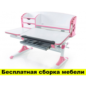 Стол Evo-kids Aivengo (L) Pink (арт.Evo-720 WP) - столешница белая / ножки белые с розовым