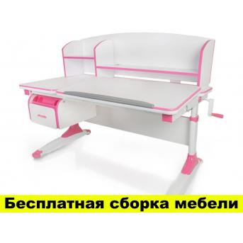 Стол Evo-kids Bruno Pink (арт.Evo-420 WP) - столешница белая / ножки белые с розовым
