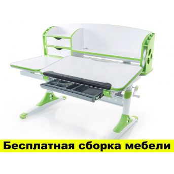 Стол Evo-kids Aivengo (L) Green (арт.Evo-720 WZ) - столешница белая / ножки белые с зеленым