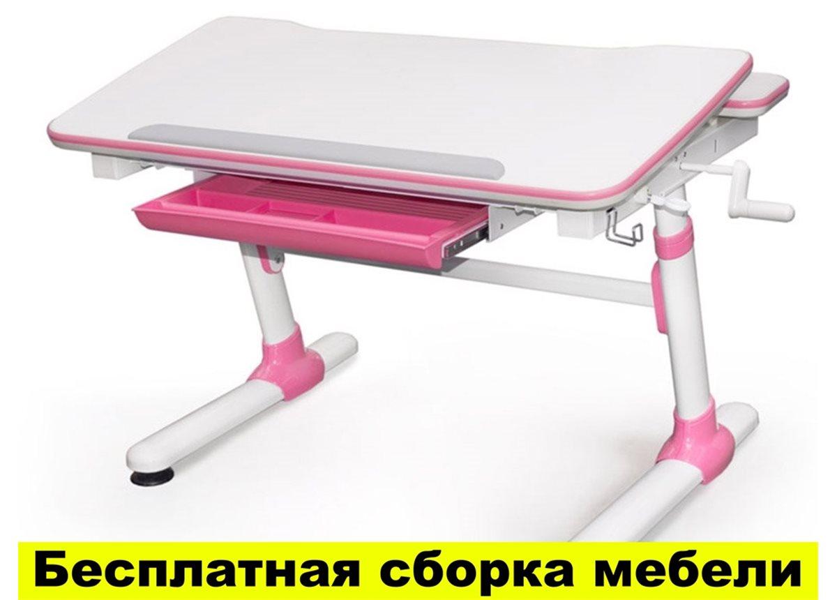 Стол Evo-kids Duke Pink (арт.Evo-501 P) - столешница белая / вставки розовые